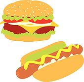 isolated hot-dog and hamburger