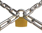 Crossed chains with padlock