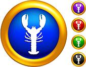 lobster icon on  buttons with golden borders