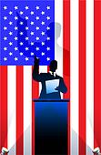 USA flag with political speaker behind a podium