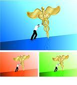 Business man pushing medical caduceus uphill