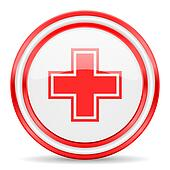 pharmacy red white glossy web icon