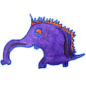 watercolor anteater drawing cartoon style isolated on a white ba
