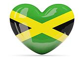 Heart shaped icon with flag of jamaica