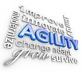 Agility Words 3d Collage Modernize Improve Innovate Change