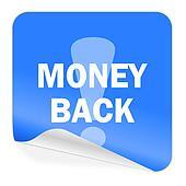 money back blue sticker icon