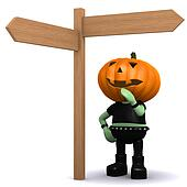3d Pumpkin head monster looks at a roadsign