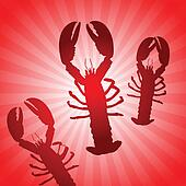 Lobster Set on Abstract Red Background