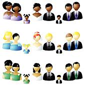 Three sets of wedding party icons