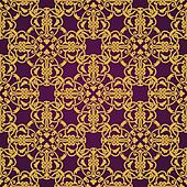Seamless yellow and violet pattern in arabic or muslim style