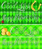 Set of 4 horizontal banners with calligraphic words Happy St. Pa