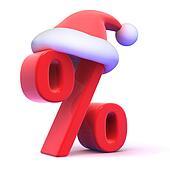 3d Seasonal percent symbol with Santa Claus hat