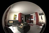Modern panoramic living room