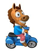 3D Horse character the Blue motorbike driving. 3D Animal Character Design Series.