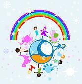 happy winter children world