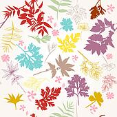Floral vector pattern with autumn foliage