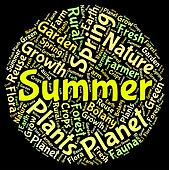 Summer Word Shows Hot Weather And Midsummer