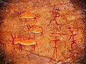 hunters on cave paint digital illustration
