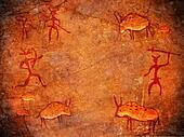 hunters on cave paint digital illustration background