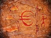 hunters on cave paint digital illustration with euro symbol