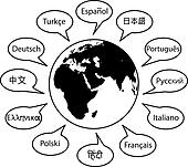 World Language Names Speech Translation Words on Globe