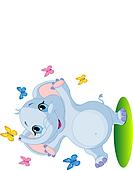 Baby elephant dancing with butterf