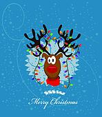 Merry Christmas Card with reindeer