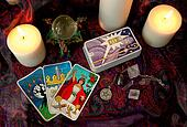Tarot cards and candles.