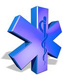 Medical cross symbol with Caduceus