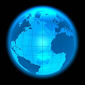 Blue glowing Earth