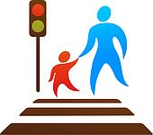 Parent and child crossing the street
