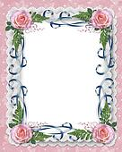 Pink roses, ribbons and lace border