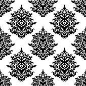 Ornate seamless pattern with  foliate arabesque motifs
