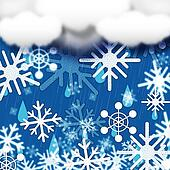 Blue Snowflakes Background Shows Snow Cloud And Snowing