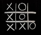 Tic Tac Toe on chalkboard