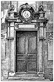 Victor Cousin door, vintage engraving.