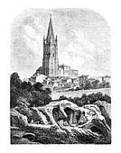 Les Arenes and the steeple of St. Eutropius, a Saintes, vintage engraving.