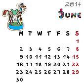 color horse calendar 2014 june