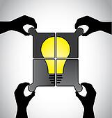 teamwork idea jigsaw puzzle human hands working together concept. hand silhouettes placing different pieces of jigsaw to build a yellow bright idea bulb solution together