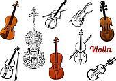 Violin music instruments set