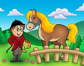 Cartoon jockey with horse