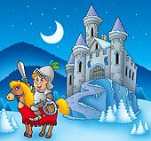 Knight on horse with winter castle