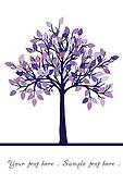 Abstract tree with purple leaves