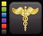 caduceus icon on square internet button