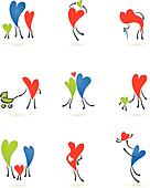 Collection of family heart icons
