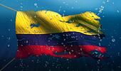 Colombia Under Water Sea Flag National Torn Bubble 3D