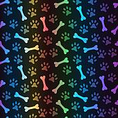 Animal spectrum seamless pattern of paw footprint