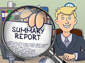 Summary Report through Magnifying Glass. Doodle Design.