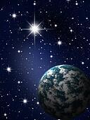 Planet in stars sky