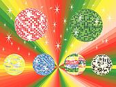 six colored mirror balls